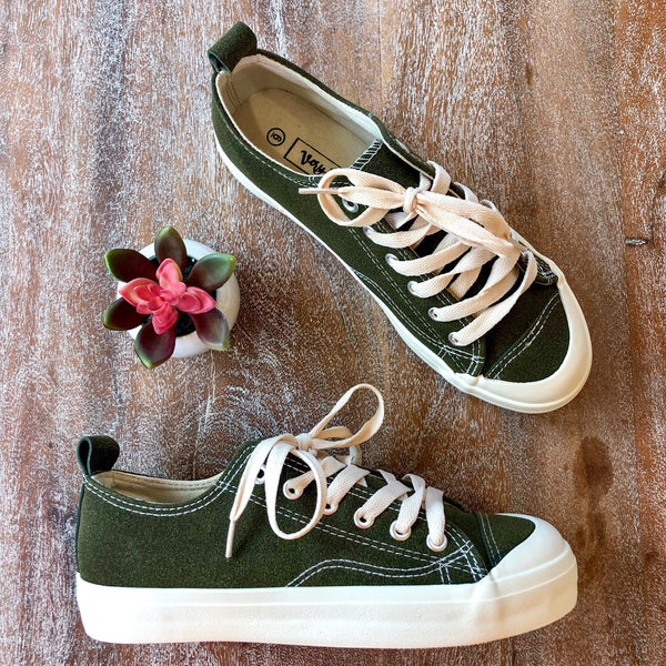 Bumper Car Lace Up Tennis Shoes in Olive Green