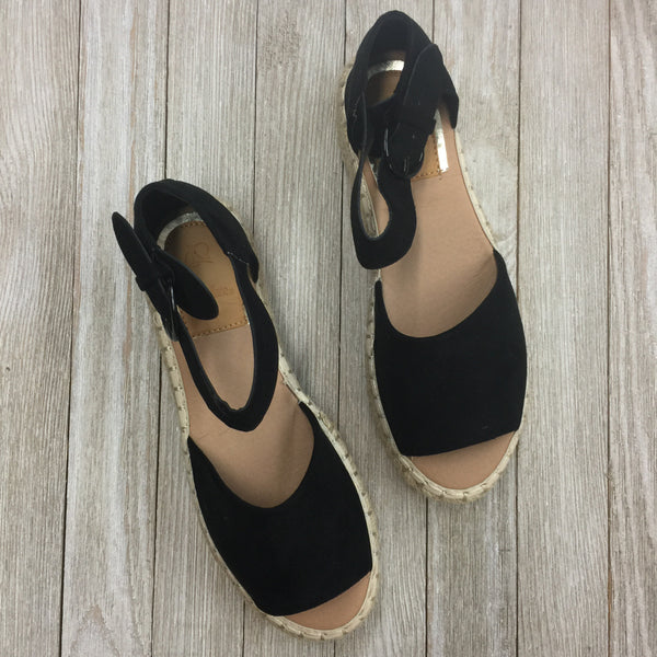 DAMAGED | SIZE 6 Not A Drille Platform Espadrille Sandals in Black