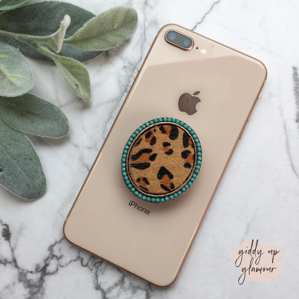 Leopard Hide Phone Grip with Crystal Embellishments in Turquoise