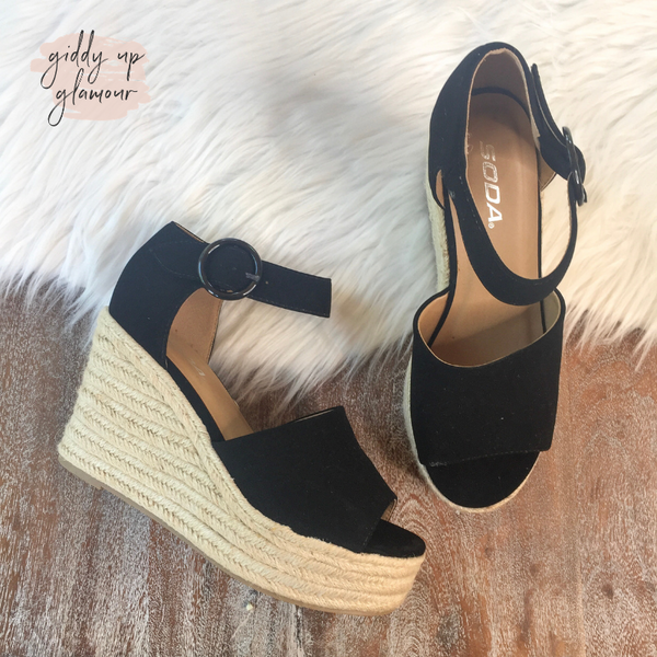 Meet Me Here Espadrille Sandal Wedges in Black