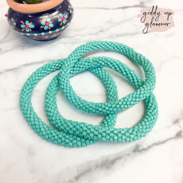 Set of Three | Beaded Bracelets in Turquoise