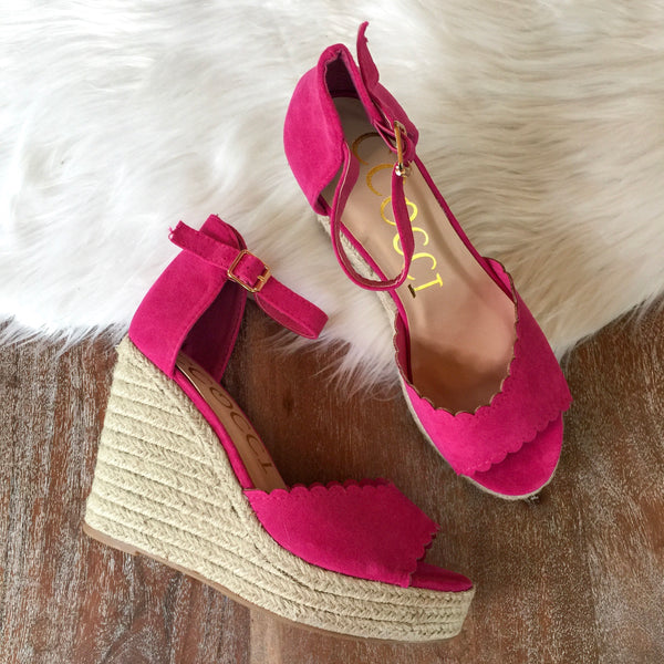 Take Me Higher Scalloped Wedges in Fuchsia
