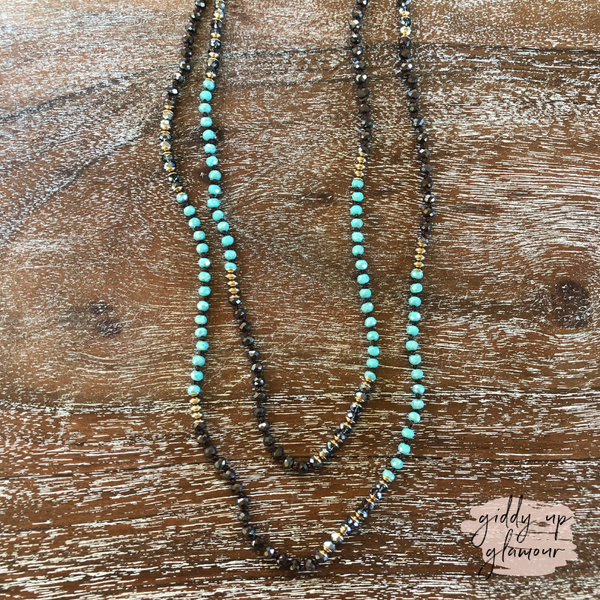 Long Crystal Beaded Necklace in Turquoise and Brown