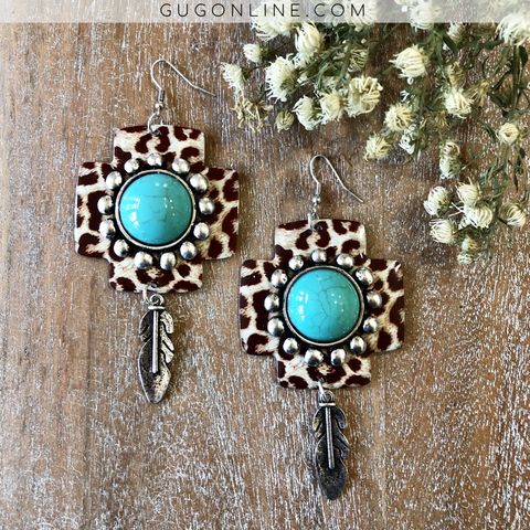 Cheetah Cross Earrings with Turquoise Stone Embellishment and Feather Dangle
