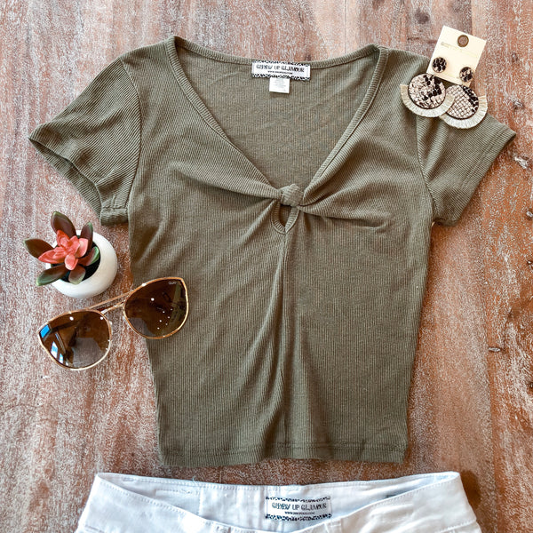 New to You Ribbed Knotted V Neck Crop Top in Olive