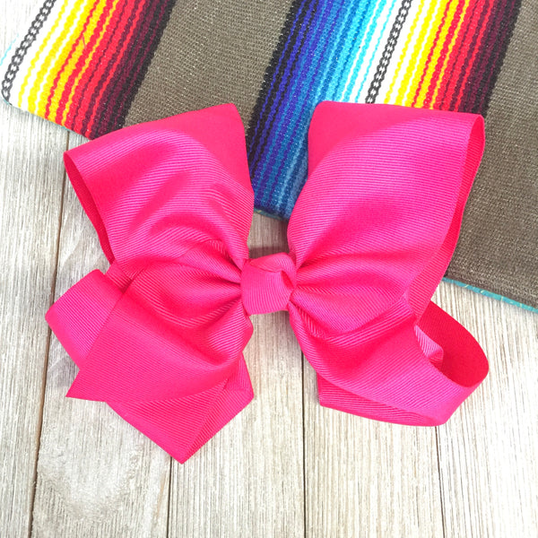 Solid Color Hair Bow in Hot Pink