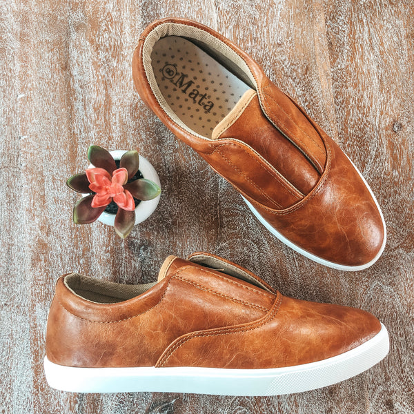 Slide On By Faux Leather Slip On Sneakers in Cognac