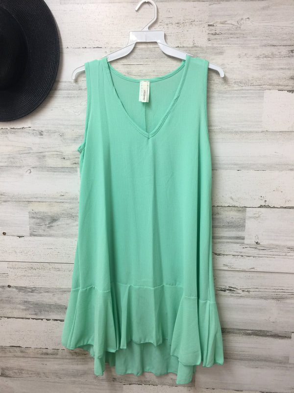 V-Neck Tank Tunic Top with Ruffle in Mint Green