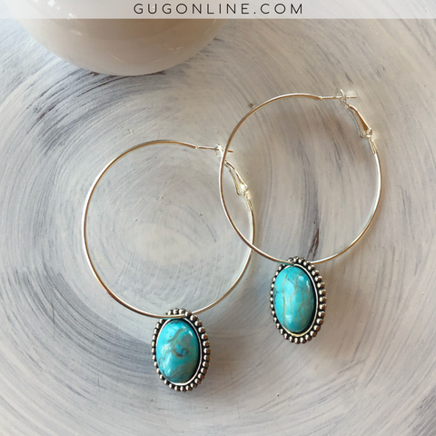 Pink Panache Large Hoop Earrings with Turquoise Stone Dangles