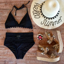 Seashores of Mexico Pom Pom High-Waisted Bikini Bottoms in Black