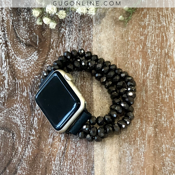 The Roxi | Three Crystal Strand Apple Watch Band in Chocolate Brown