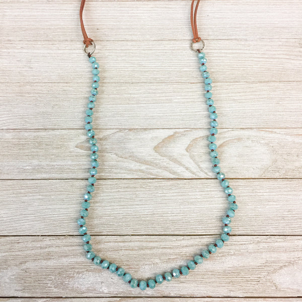 SAMPLE | Pink Panache Long Leather and Turquoise Crystal Necklace