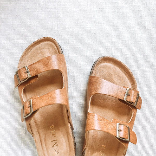 Summer Love Double Buckle Slide On Sandals in Cognac