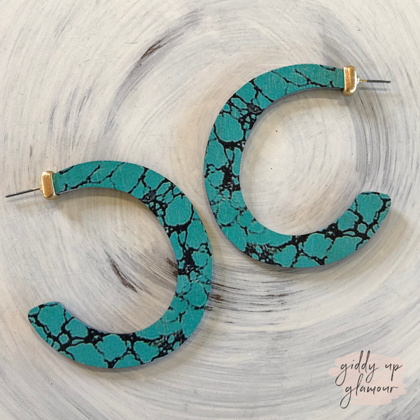 Wooden Hoop Earrings in Veined Turquoise