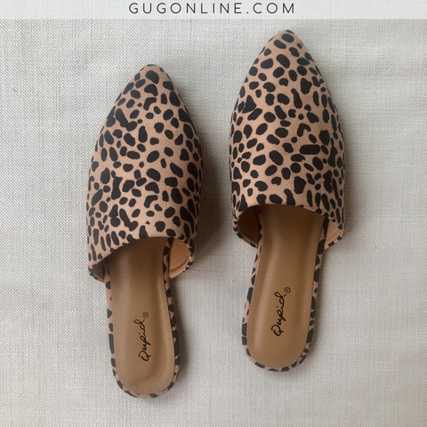 Wild About It Leopard Flat Mule Slide In Shoes