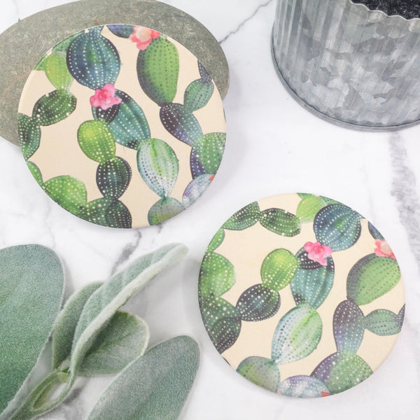 Set of Two | Watercolor Cactus Car Coasters