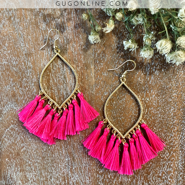 Gold Outline Drop Earrings with Fringe Tassels in Hot Pink