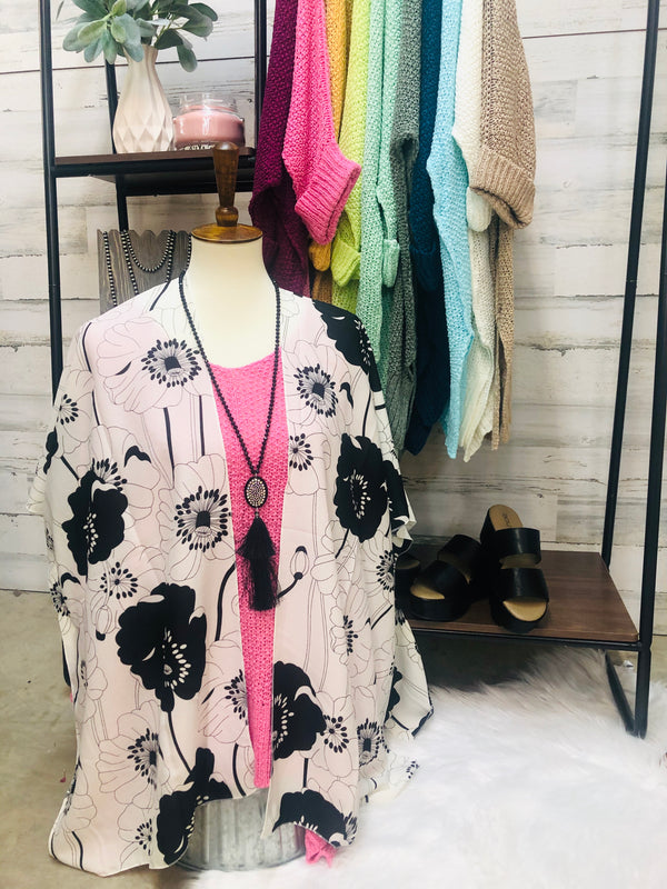 Be My Sunshine Floral Print Kimono Cover Up in Black and White