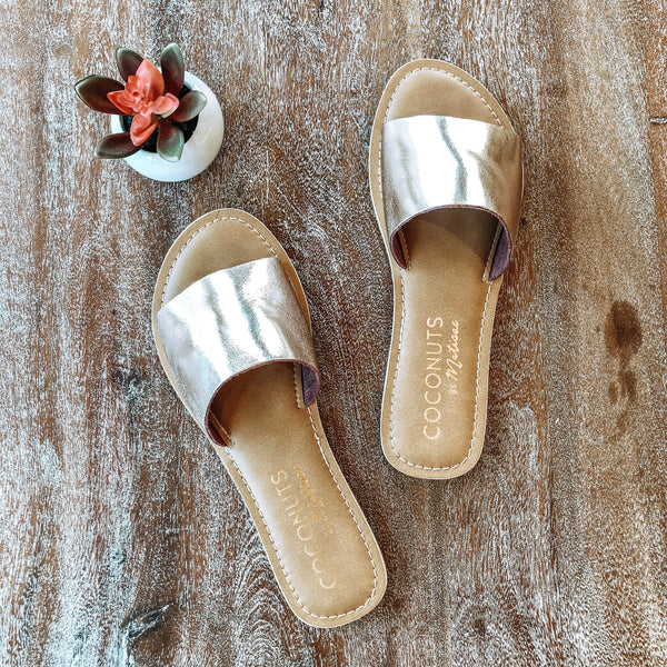 Cabana One Strap Slide On Sandals in Rose Gold