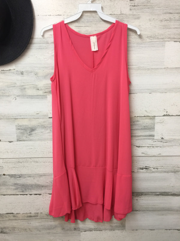 V-Neck Tank Tunic Top with Ruffle in Coral