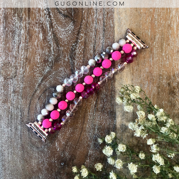 The Lexi | Three Strand Apple Watch Band in Hot Pink