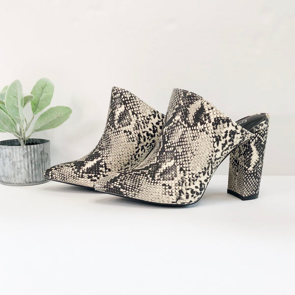Without Limits Heeled Mules in Ivory Snake