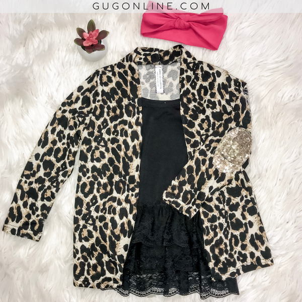 Kids Test Your Limits Leopard Cardigan with Gold Sequin Elbow Patches