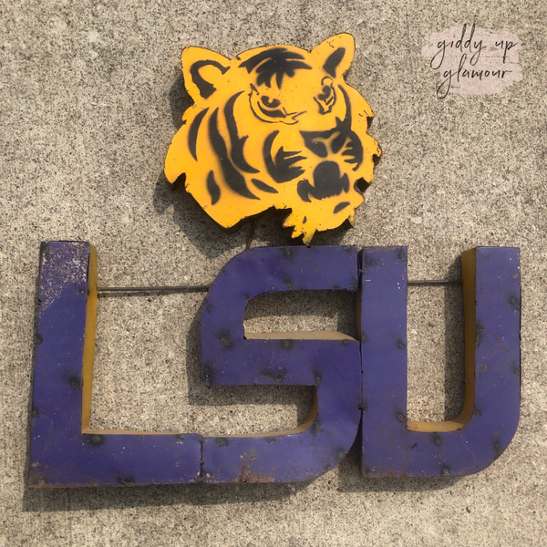 LSU Rustic Metal Sign with Logo