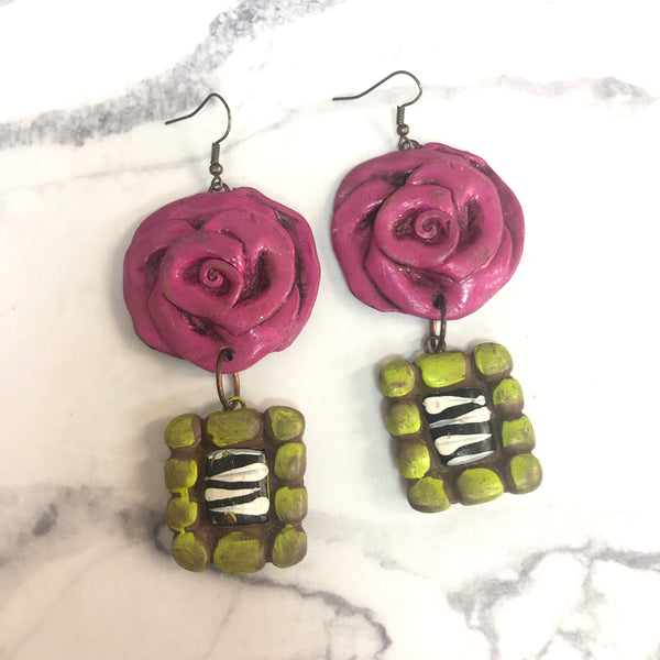 SAMPLE | Handmade Clay Rose Earrings with Zebra | ONLY 1 LEFT