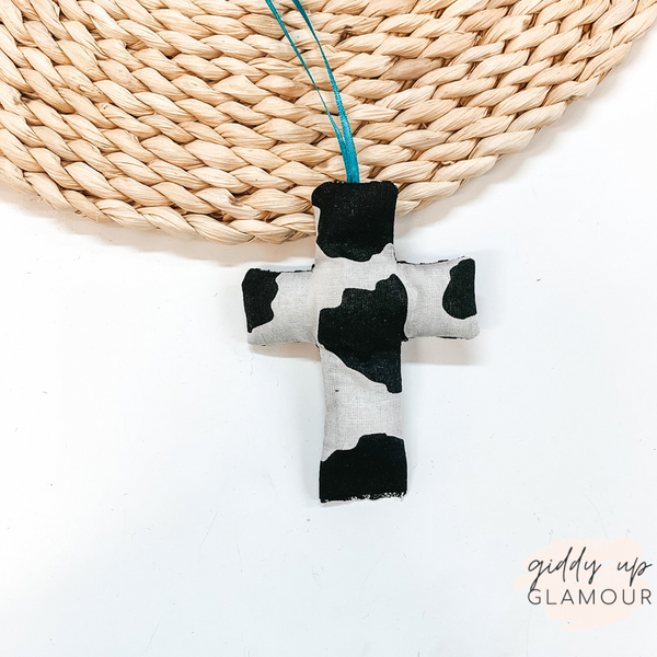 Cowhide Print Cross Shaped Freshie in Naked Cowboy