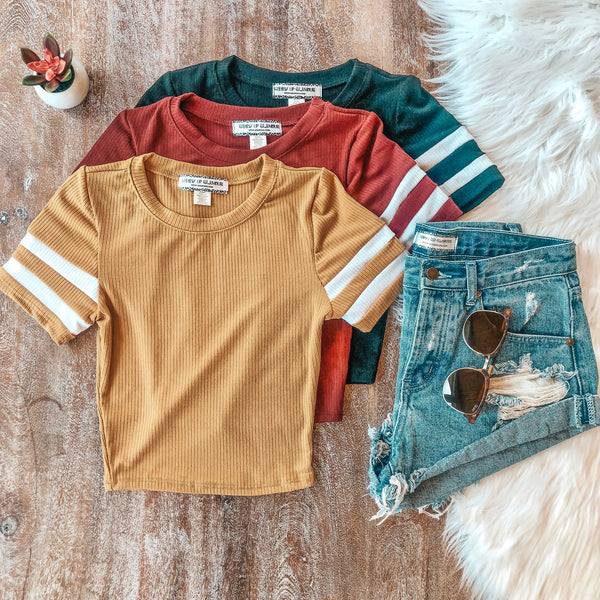 Varsity Girl Ribbed Jersey Crop Top in Mustard