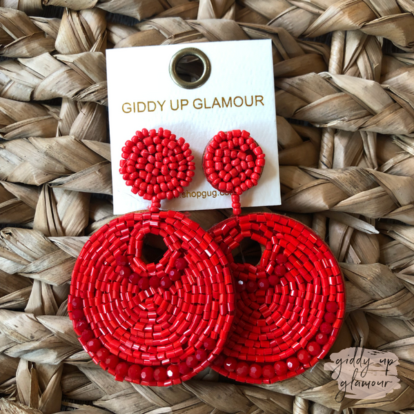 Beaded Statement Earrings with Beaded stud in Red