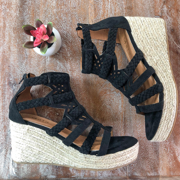 Fashionable Heights Braided and Perforated Espadrille Wedges in Black