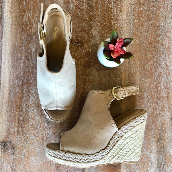 Taupe Suede Braided Wedges/Heels | Cute Trendy Espadrilles Wedges Sandals
