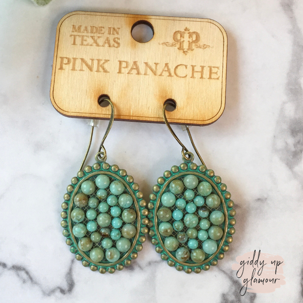 Pink Panache Small Turquoise Oval Earrings with Turquoise Cabochons