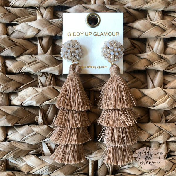 Layered Tassel Earrings with Statement Beaded Stud in Mocha