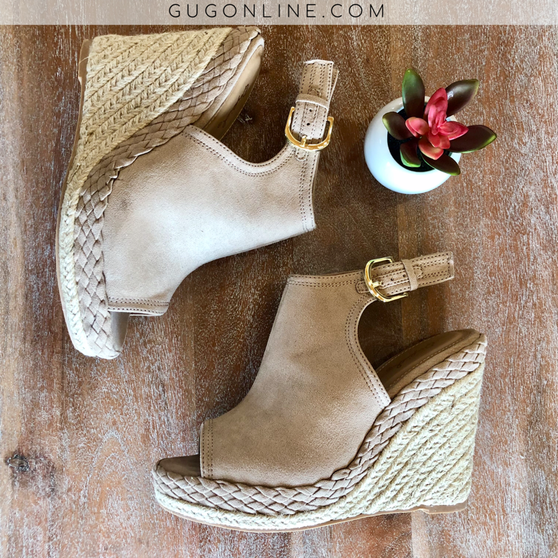 Know the Steps Braided Peep Toe Wedges