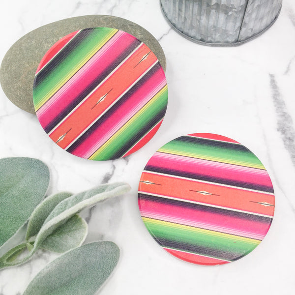 Set of Two | Serape Car Coasters in Pink