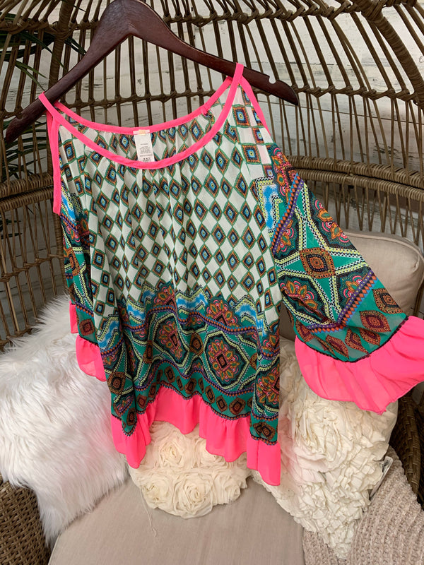 Sheer Tunic Top with Ruffle Details in Neon Pink and Geometric Pattern