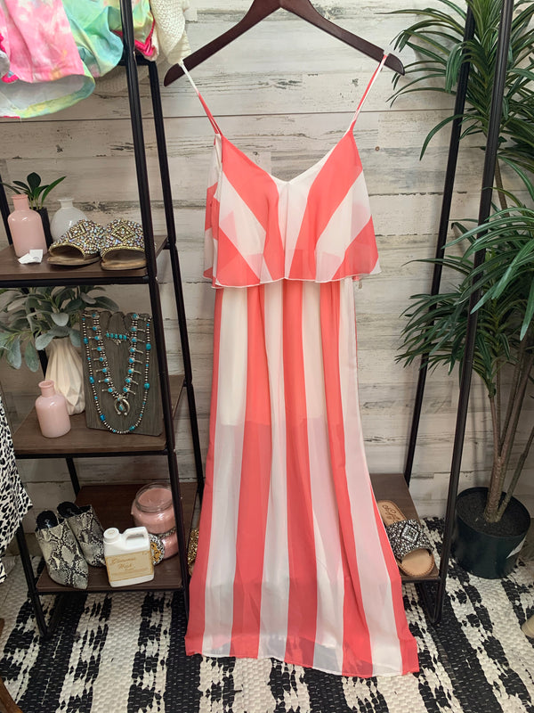 Striped Maxi Dress in White and Coral