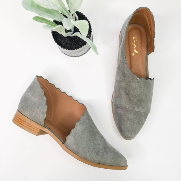 Side Slit Scalloped Edge Flat Booties in Ash Grey- all sizes left!