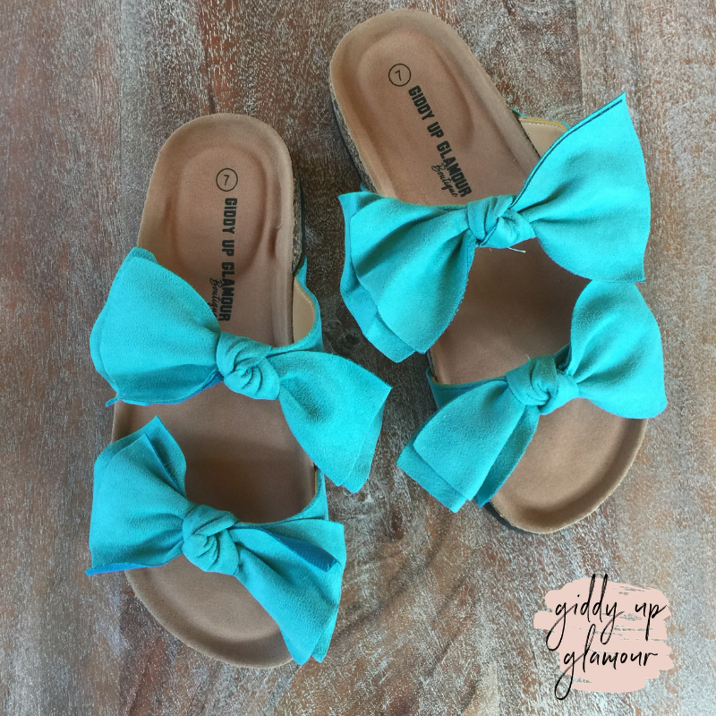 Crushing Hard Double Bow Slide On Sandals in Turquoise