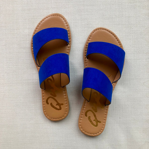 SIZE 9 | MODELED PAIR Make Things Easy 2 Band Asymmetrical Slide Sandals in Cobalt Blue