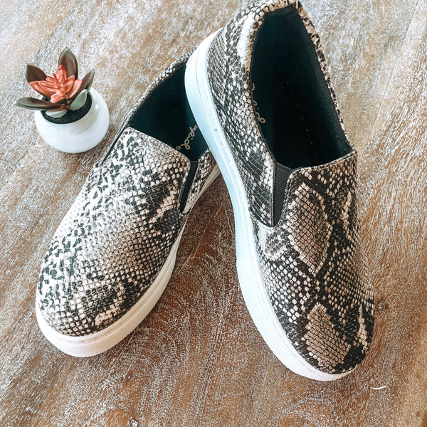 Truly Wild Step In Flatform Sneakers in Brown Snake