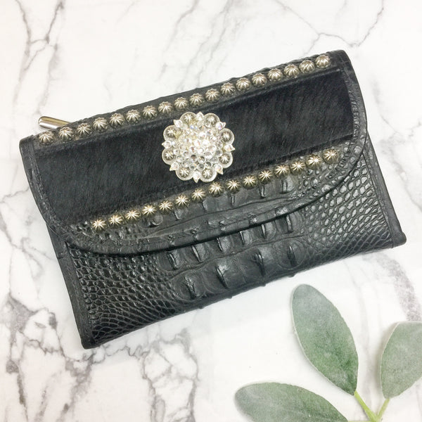 Raviani | Black Crocodile and Cowhide Wallet Clutch with Silver Studs and Crystals