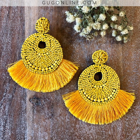 Beaded Statement Earrings with Fringe Trim in Yellow