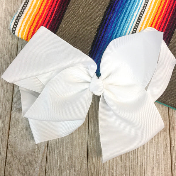 Solid Color Hair Bow in White