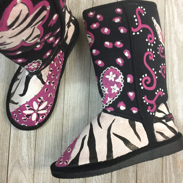 SAMPLE Hand Painted WInter Boots SIZE 5