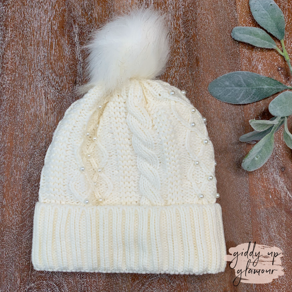 Pearl Embossed Pom Pom Beanie in Ivory