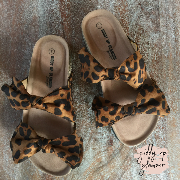 Crushing Hard Double Bow Slide On Sandals in Leopard